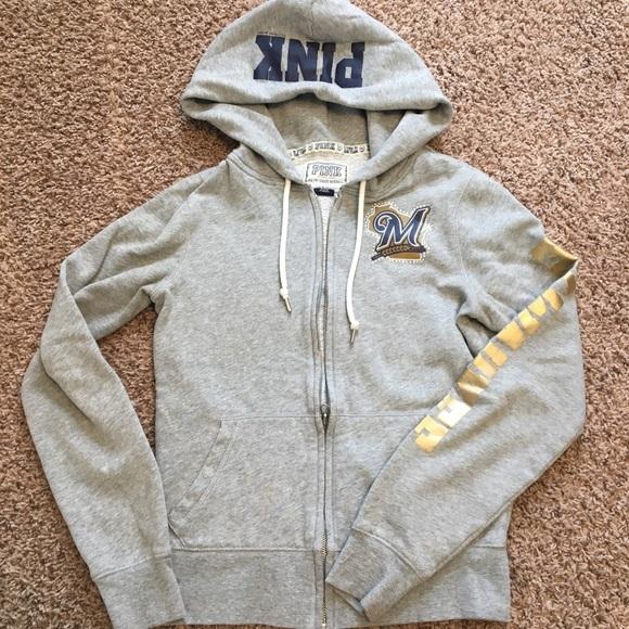 competitive price 5732c bcd4c VS Pink Milwaukee Brewers Zip Up Sweatshirt